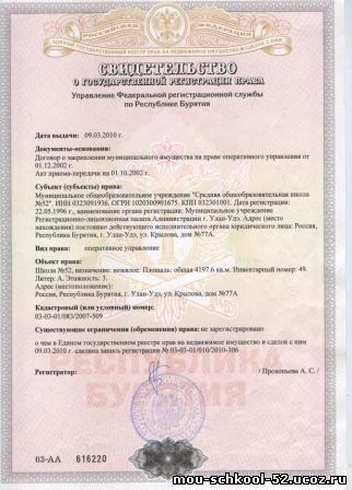 Свидетельство о гос регистрации права